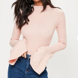 Missguided Pink Flared Sleeve Ribbed Bodysuit